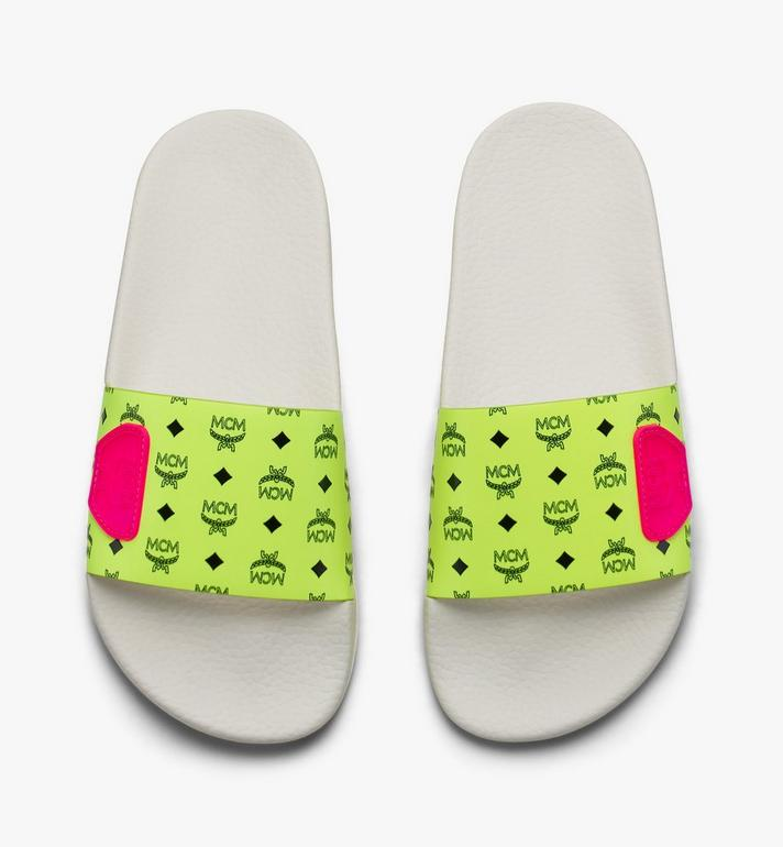 MCM Men's Flo Monogram Rubber Slides Yellow MEX9ALC76YN043 Alternate View 5