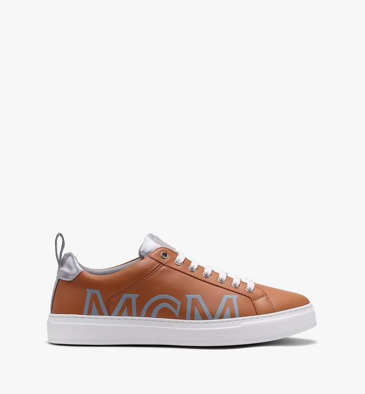 MCM Men's Low-Top Logo Sneakers in Rubberized Leather  MEX9AMM16CS042 Alternate View 2
