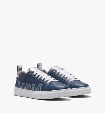 Men's Low-Top Logo Sneakers in Rubberized Leather