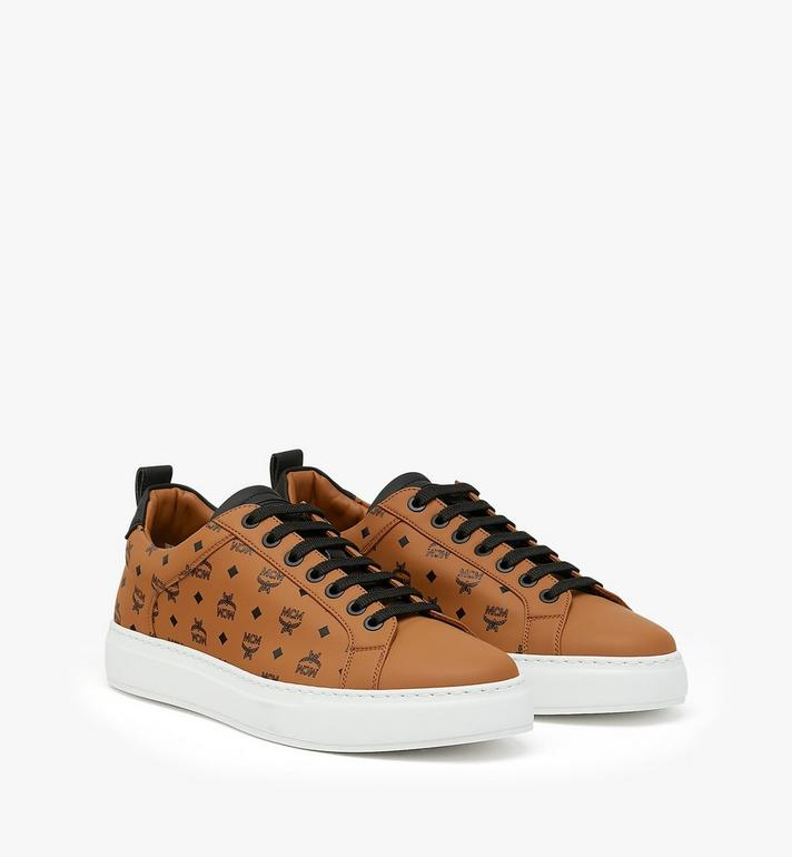 MCM Men's Low-Top Sneakers in Visetos Cognac MEX9AMM90CO041 Alternate View 1