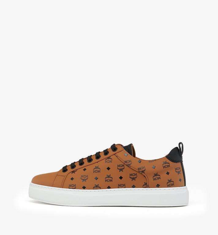MCM Men's Low-Top Sneakers in Visetos Cognac MEX9AMM90CO042 Alternate View 3