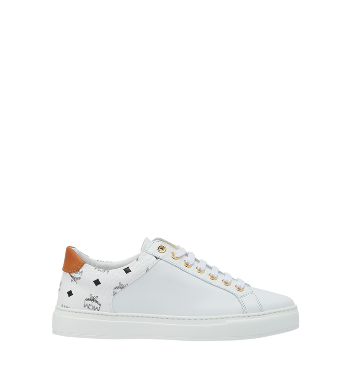 MCM Men's Low Top Sneakers in Visetos and Leather White MEX9S2I03WT045 Alternate View 2