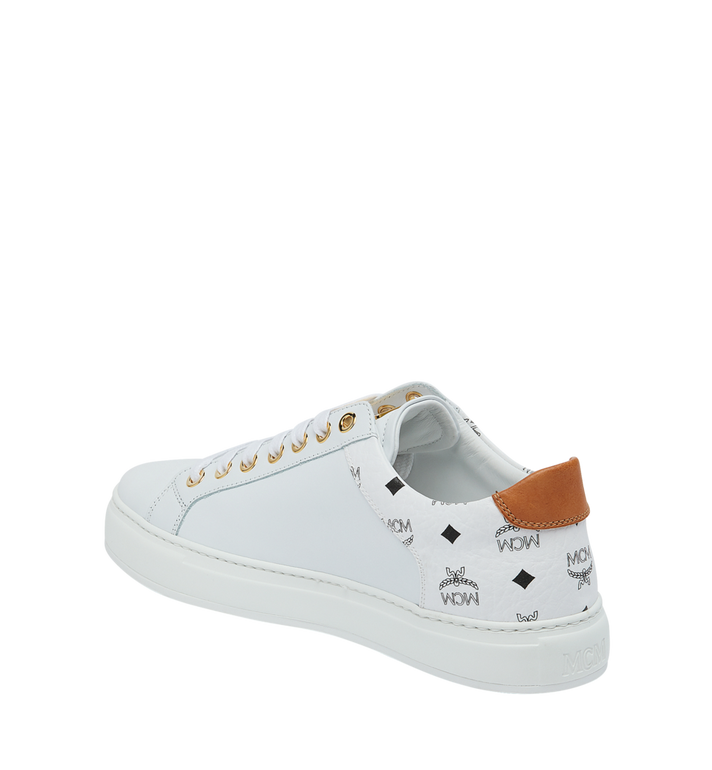 MCM Men's Low Top Sneakers in Visetos and Leather White MEX9S2I03WT045 Alternate View 3