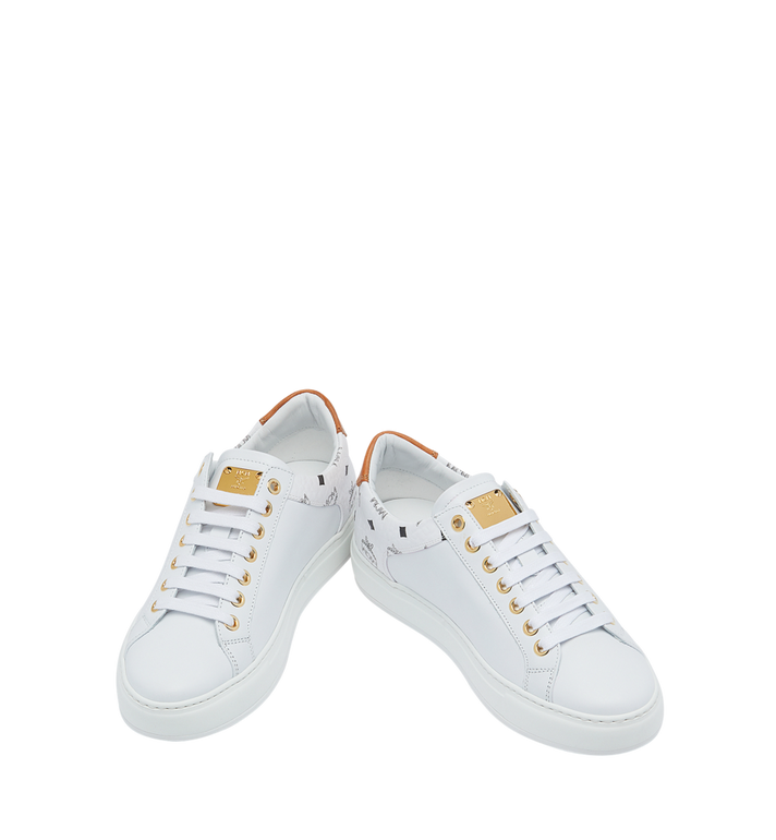 MCM Men's Low Top Sneakers in Visetos and Leather White MEX9S2I03WT045 Alternate View 4