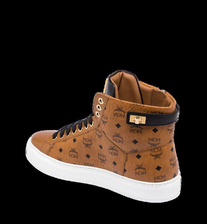 MCM Men's Classic High Top Sneakers in Visetos Cognac MEX9SMM02CO043 Alternate View 3