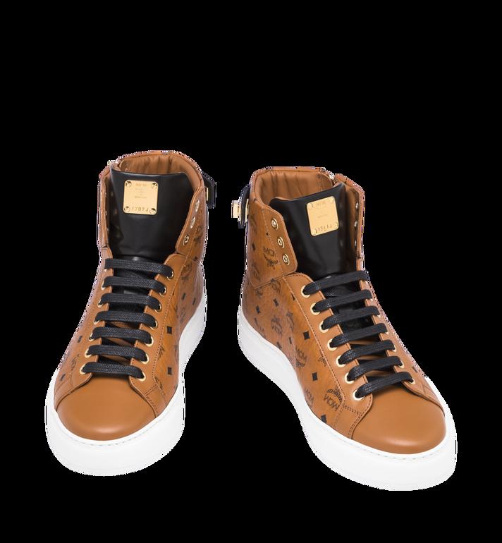 MCM Men's Classic High Top Sneakers in Visetos Cognac MEX9SMM02CO043 Alternate View 4