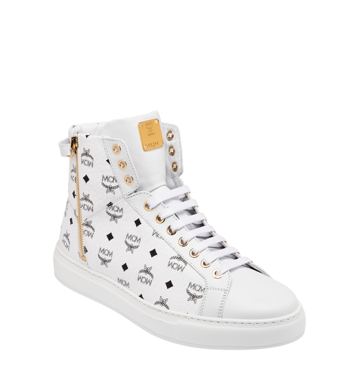 MCM Men's Classic High Top Sneakers in Visetos White MEX9SMM02WT041 Alternate View 1