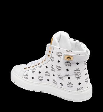 MCM Men's Classic High Top Sneakers in Visetos White MEX9SMM02WT041 Alternate View 3