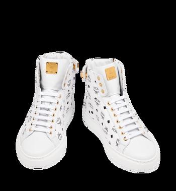 MCM Men's Classic High Top Sneakers in Visetos White MEX9SMM02WT041 Alternate View 4