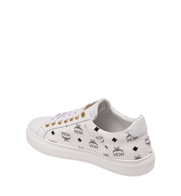 MCM Men's Classic Low Top Sneakers in Visetos White MEX9SMM04WT042 Alternate View 3