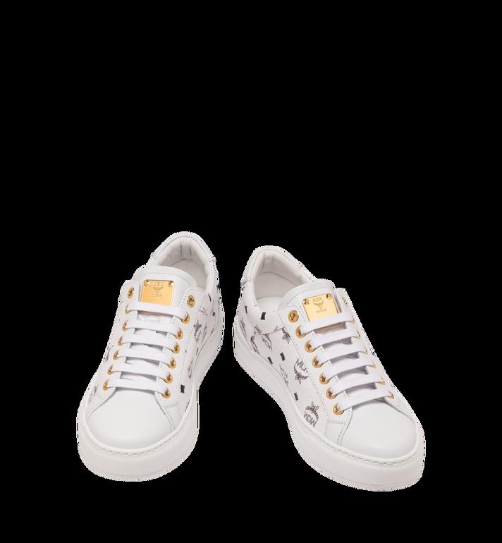 MCM Men's Classic Low Top Sneakers in Visetos White MEX9SMM04WT042 Alternate View 4