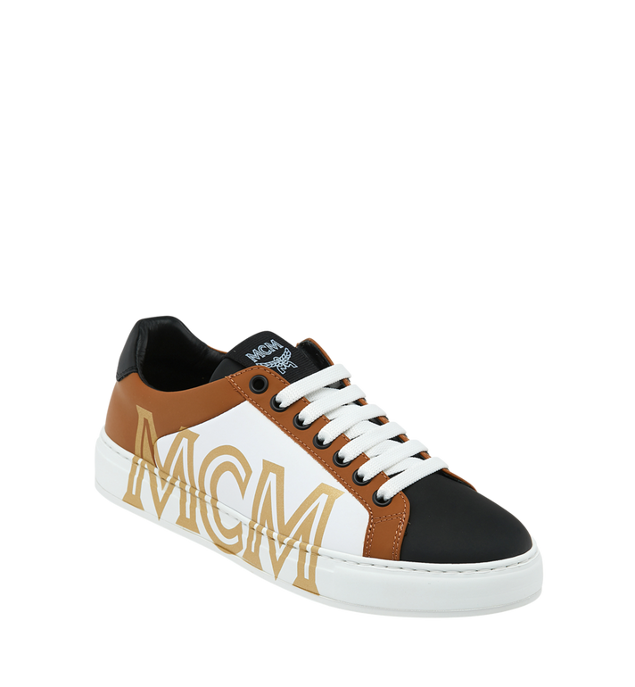 MCM Men's Low Top Sneakers in Logo Leather Alternate View