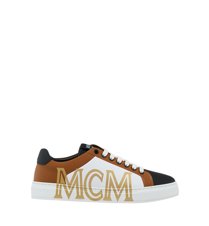 MCM Men's Low Top Sneakers in Logo Leather Cognac MEX9SMM16CO041 Alternate View 2