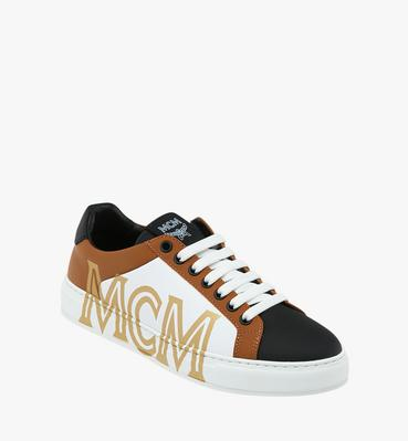 Men's Low Top Sneakers in Logo Leather