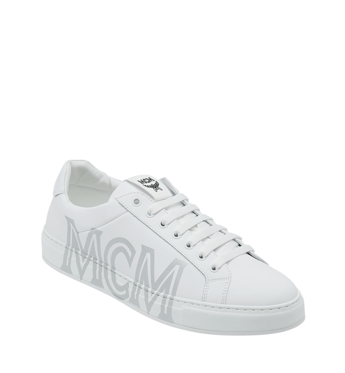 MCM 男士 Logo 皮革低筒運動鞋 White MEX9SMM16WT043 Alternate View 1