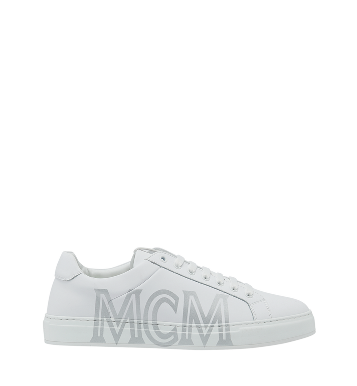 MCM Men's Low Top Sneakers in Logo Leather White MEX9SMM16WT043 Alternate View 2