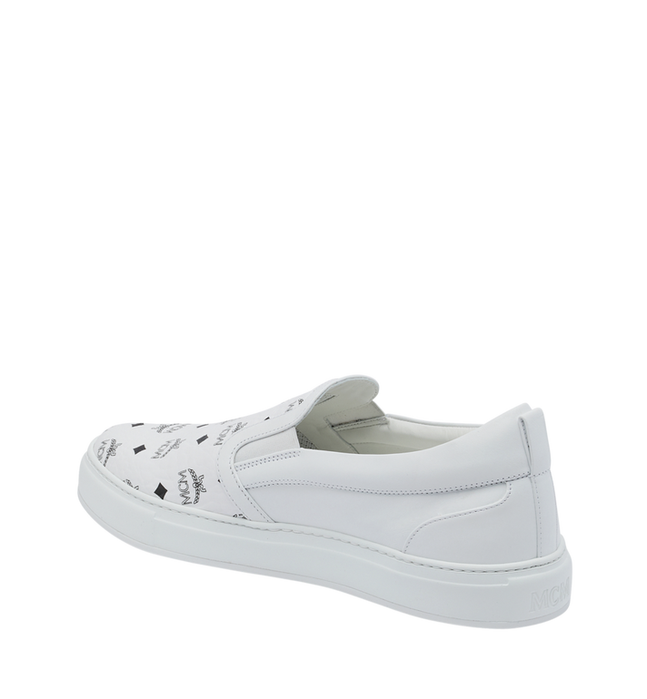 MCM Men's Slip On Sneakers in Visetos White MEX9SMM40WT041 Alternate View 3