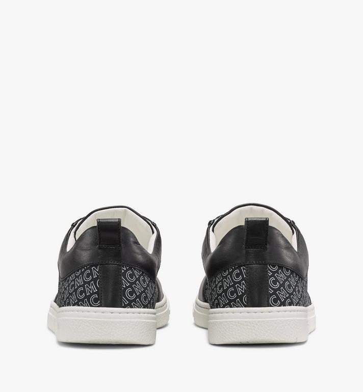 MCM 男士斜紋帆布花押字圖案低筒運動鞋 Black MEXAAMM12BK041 Alternate View 2
