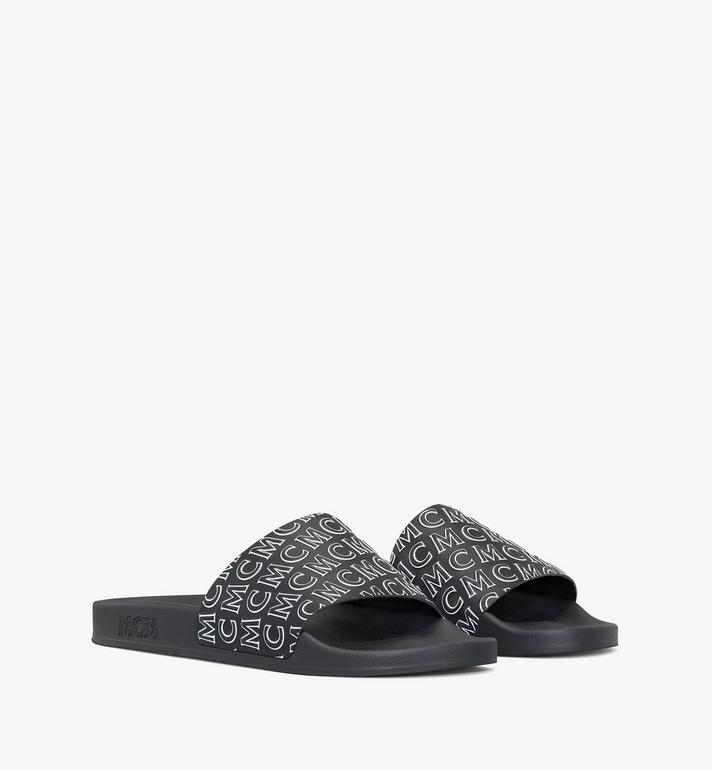 MCM Men's Diagonal Monogram Rubber Slides Alternate View