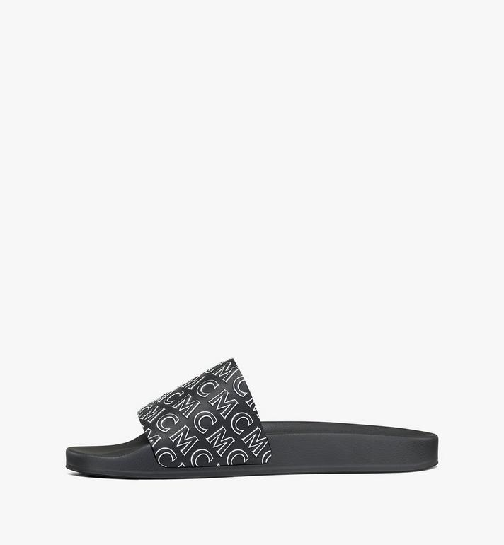 MCM Men's Diagonal Monogram Rubber Slides Black MEXAAMM15BK041 Alternate View 2