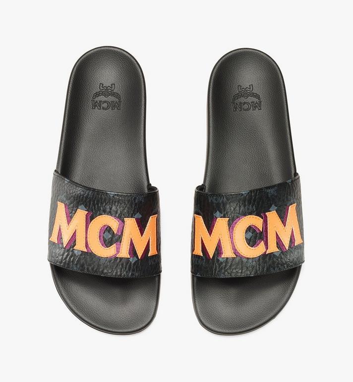 MCM Men's MCM Monogram Slides Black MEXAAMM16BK041 Alternate View 7