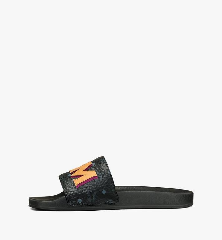 MCM Men's MCM Monogram Slides Black MEXAAMM16BK043 Alternate View 2
