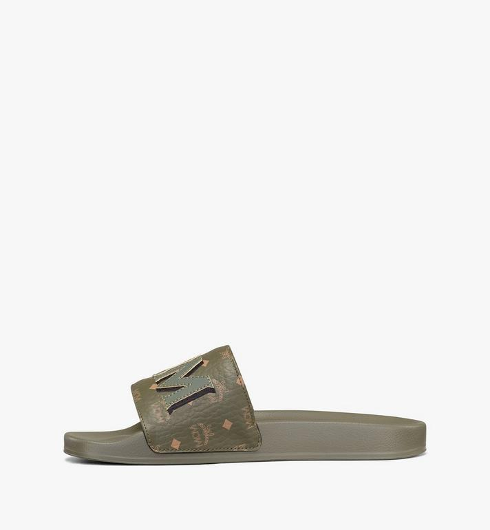 MCM Men's MCM Monogram Slides Green MEXAAMM16JH041 Alternate View 3