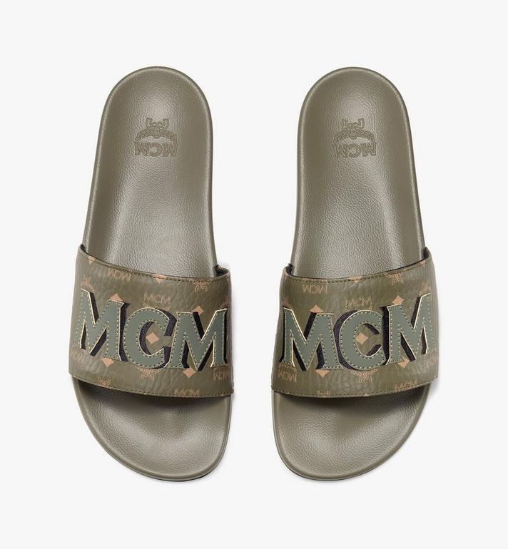 MCM Men's MCM Monogram Slides Green MEXAAMM16JH041 Alternate View 5