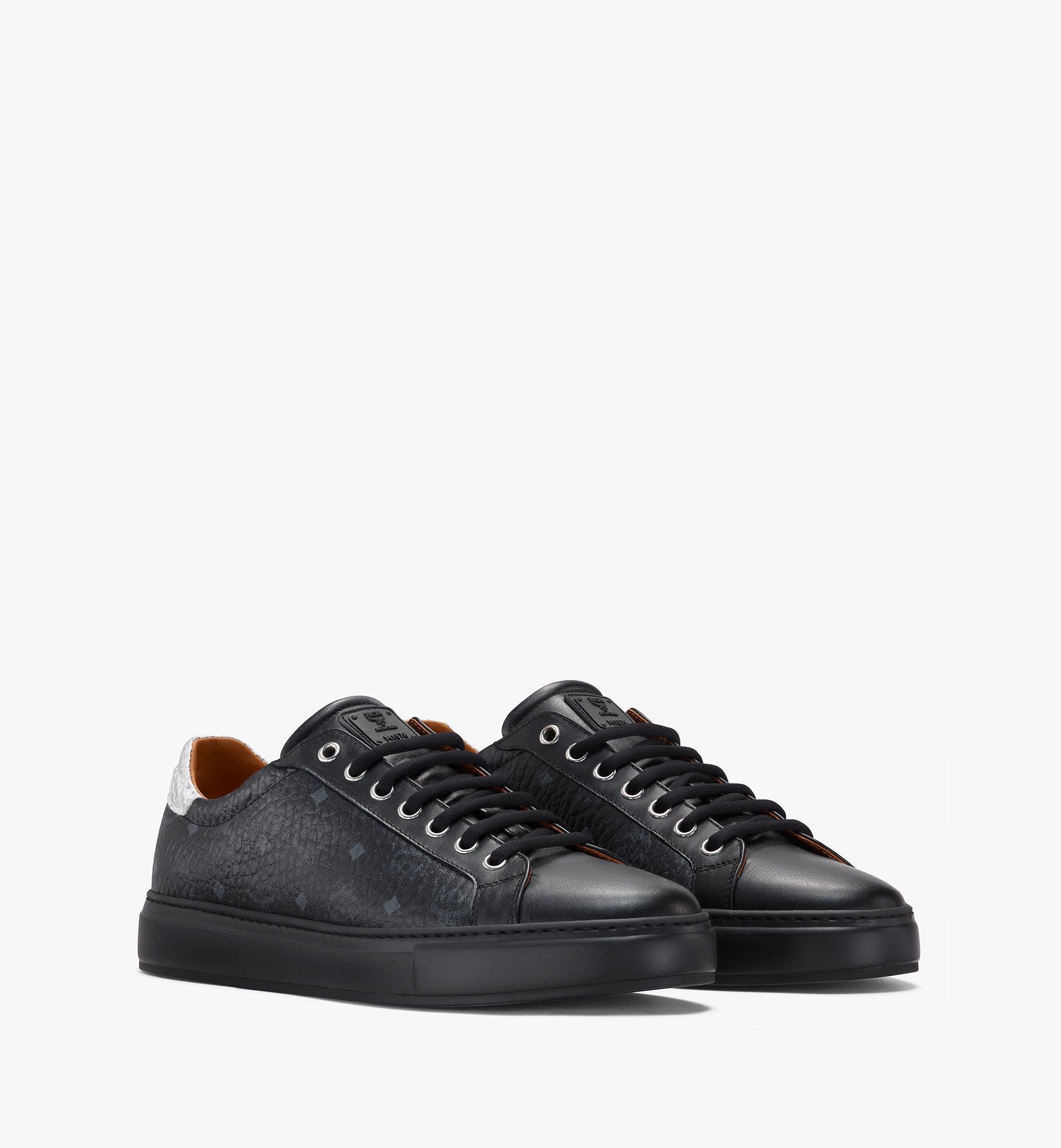 MCM Men's Low-Top Sneakers in Visetos Black MEXASMM10BK044 Alternate View 1