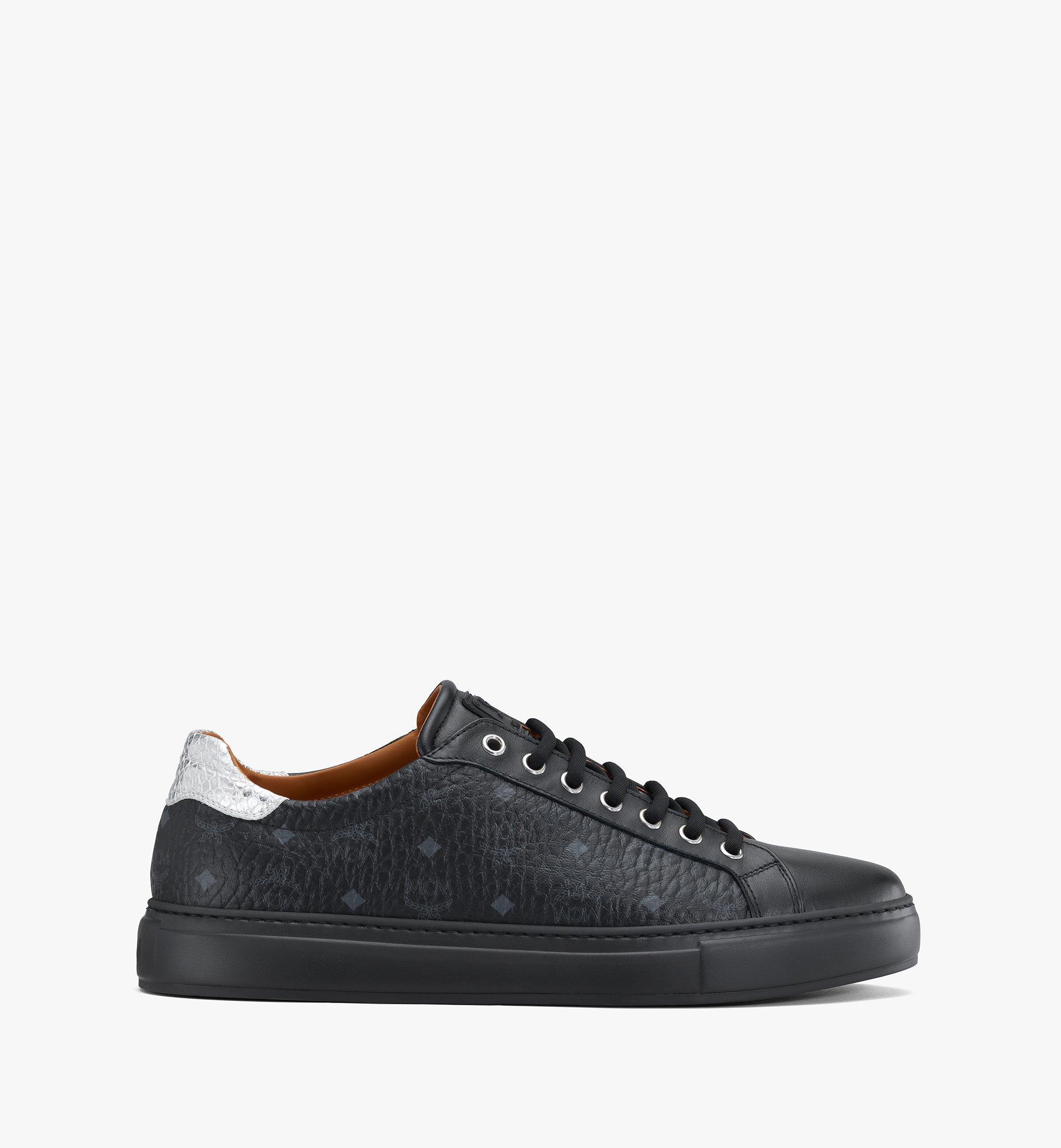 MCM Men's Low-Top Sneakers in Visetos Black MEXASMM10BK044 Alternate View 2