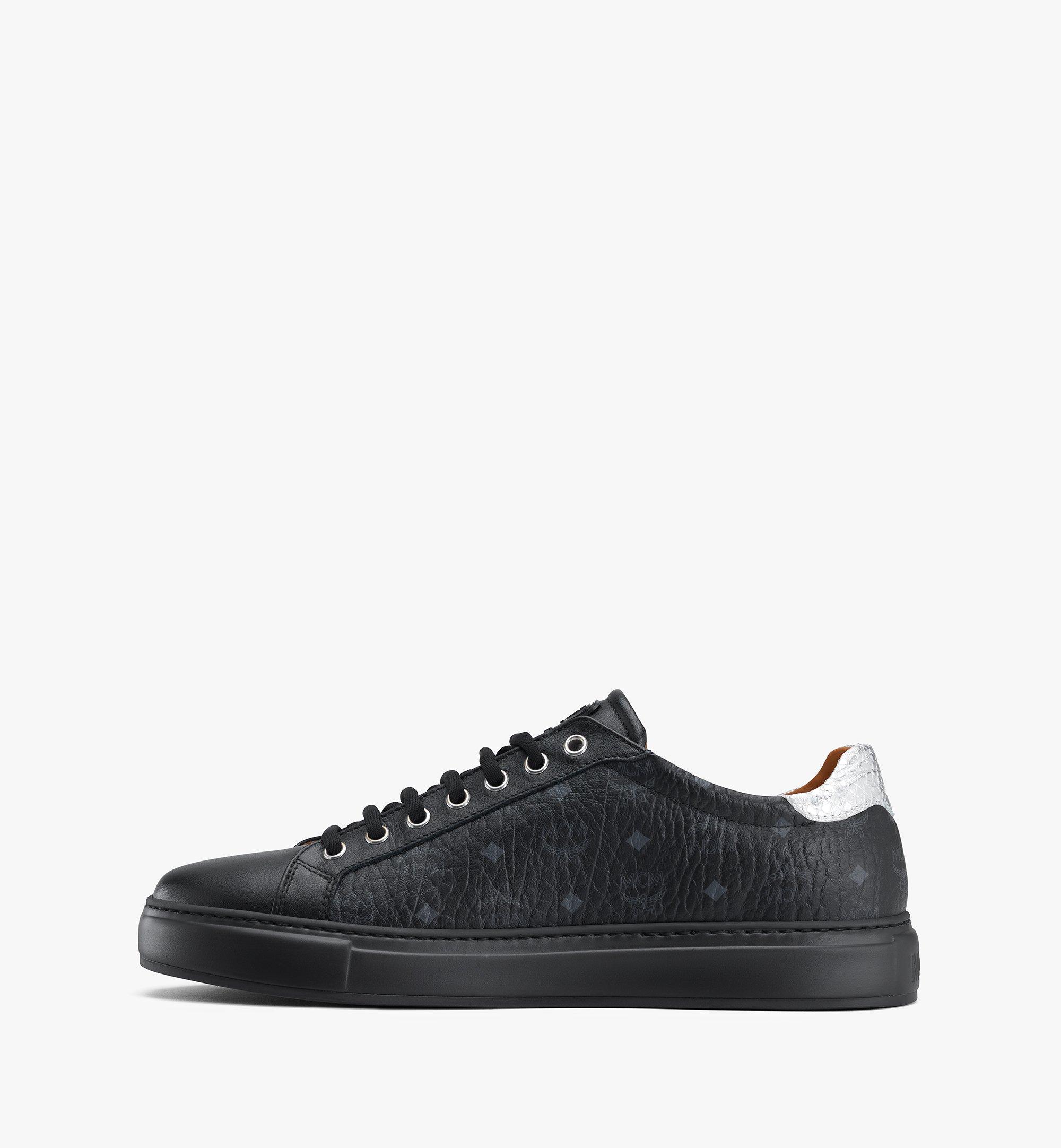 MCM Men's Low-Top Sneakers in Visetos Black MEXASMM10BK044 Alternate View 4