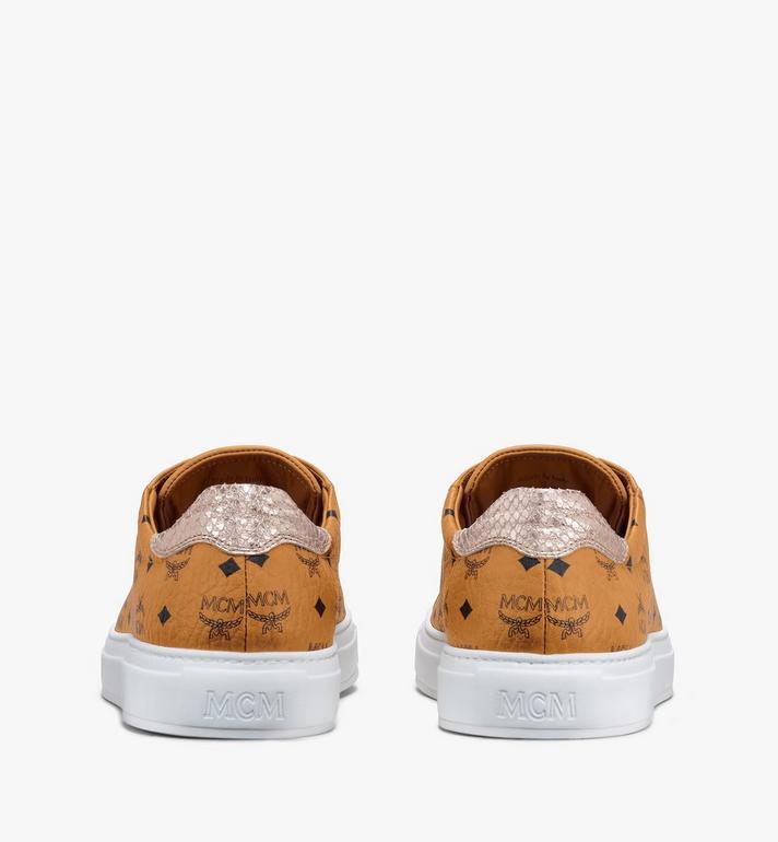 MCM Men's Low-Top Sneakers in Visetos Cognac MEXASMM10CO044 Alternate View 3