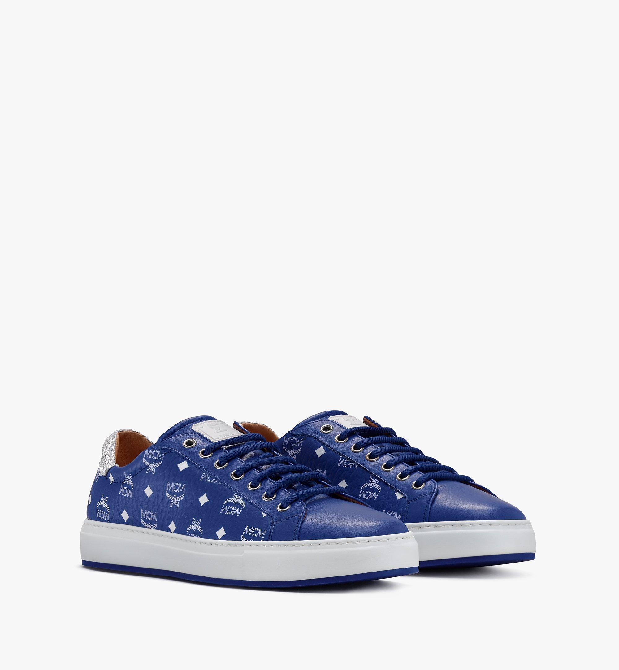 MCM Men's Low-Top Sneakers in Visetos Blue MEXASMM10H1042 Alternate View 1