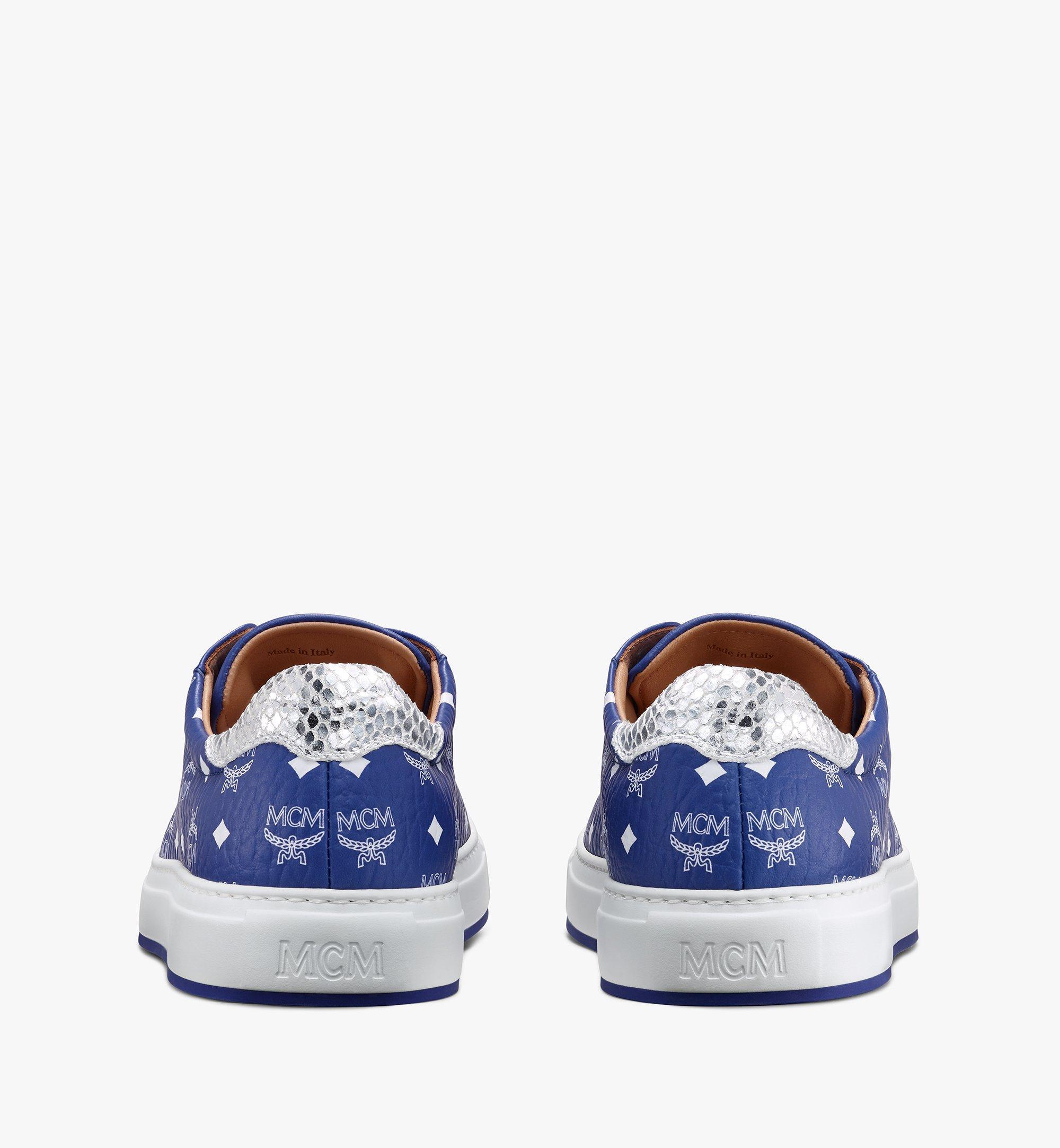 MCM Men's Low-Top Sneakers in Visetos Blue MEXASMM10H1042 Alternate View 3
