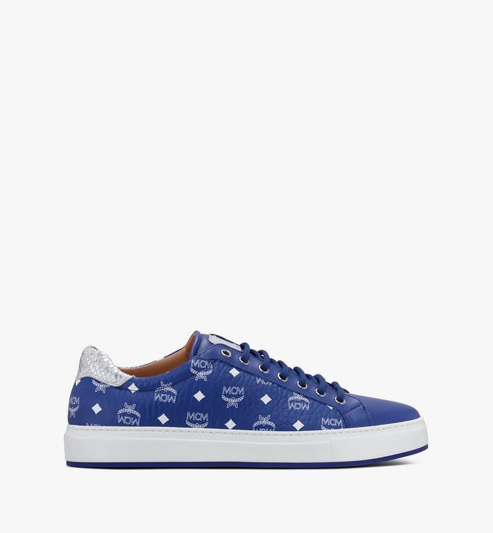 MCM Men's Low-Top Sneakers in Visetos Blue MEXASMM10H1044 Alternate View 2