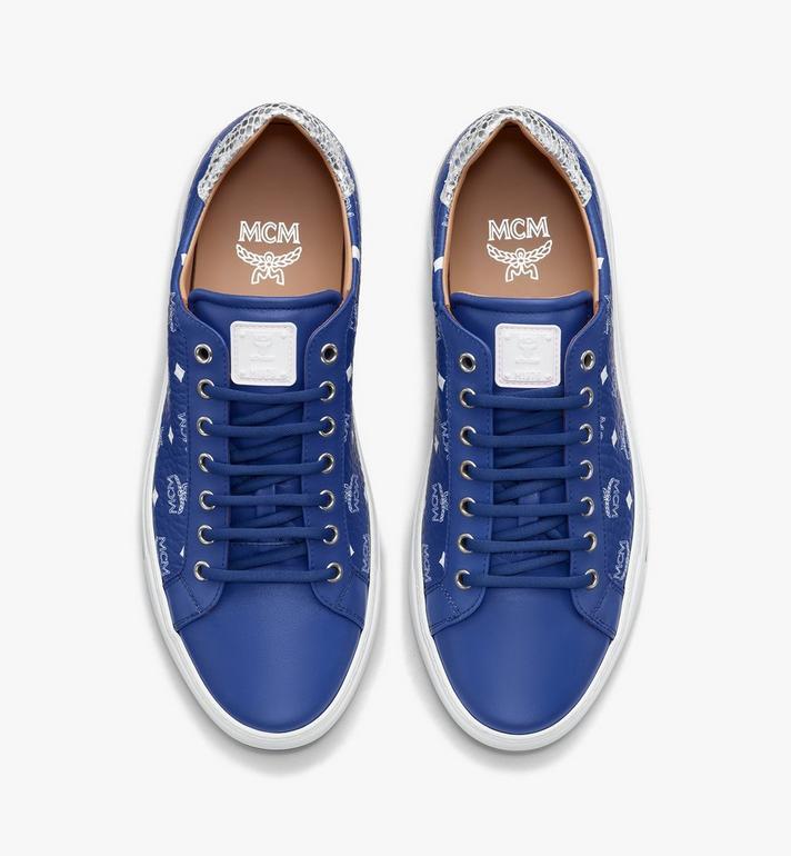 MCM Men's Low-Top Sneakers in Visetos Blue MEXASMM10H1044 Alternate View 5