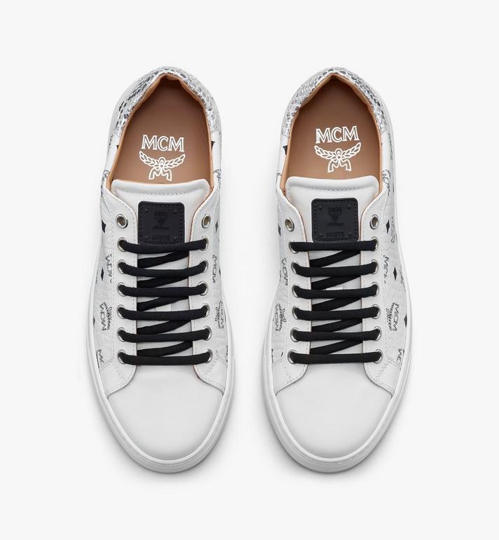 MCM Men's Low-Top Sneakers in Visetos White MEXASMM10WT042 Alternate View 5