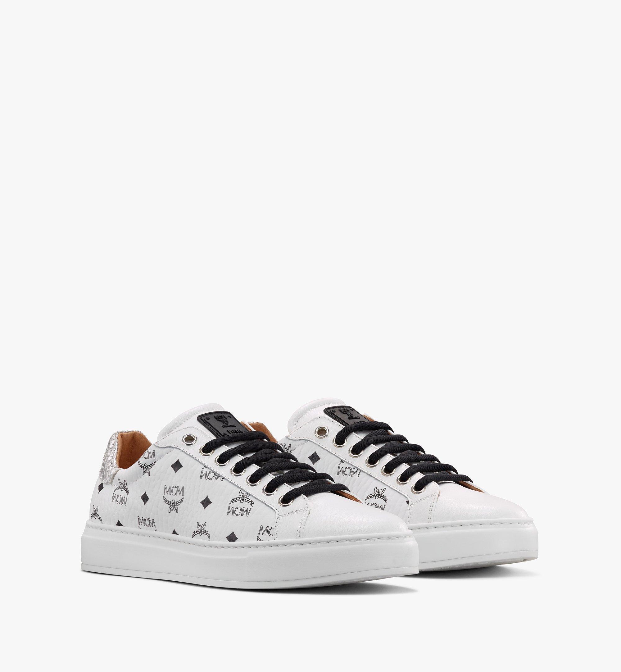 MCM Men's Low-Top Sneakers in Visetos White MEXASMM10WT044 Alternate View 1