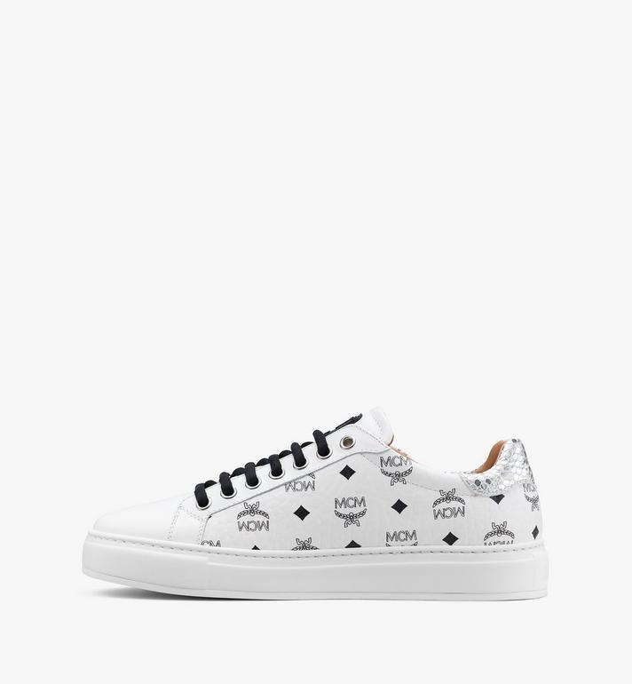 MCM Men's Low-Top Sneakers in Visetos White MEXASMM10WT044 Alternate View 4