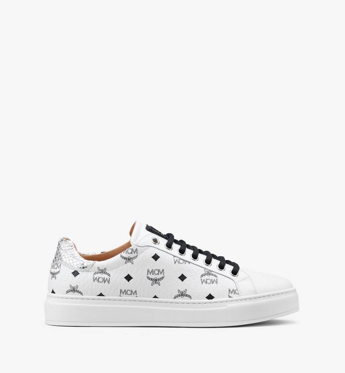 MCM Men's Low-Top Sneakers in Visetos White MEXASMM10WT045 Alternate View 2
