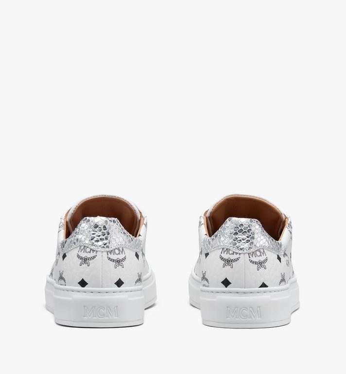MCM Men's Low-Top Sneakers in Visetos White MEXASMM10WT045 Alternate View 3
