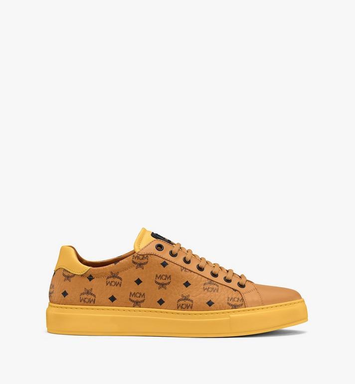 MCM Men's Classic Low-Top Sneakers in Visetos Cognac MEXASMM15CO043 Alternate View 2