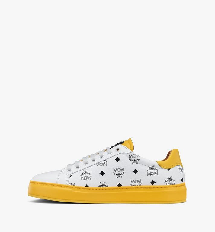 MCM Men's Classic Low-Top Sneakers in Visetos White MEXASMM15WT041 Alternate View 2