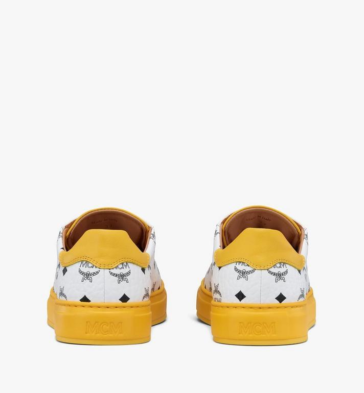 MCM Men's Classic Low-Top Sneakers in Visetos White MEXASMM15WT041 Alternate View 3