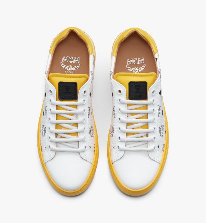 MCM Men's Classic Low-Top Sneakers in Visetos White MEXASMM15WT041 Alternate View 5