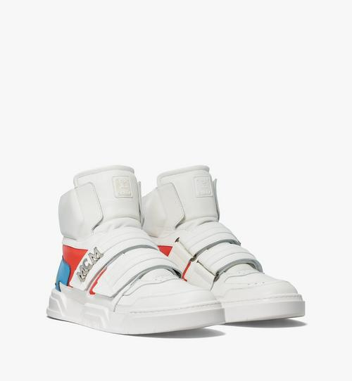 Men's Skyward Velcro Hi Sneakers in Geo Color Block Leather