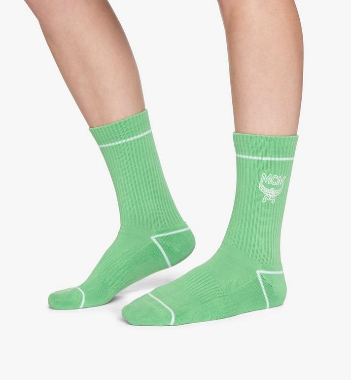 MCM Classic Logo Cotton Socks Green MEZASBM01GR0ML Alternate View 3