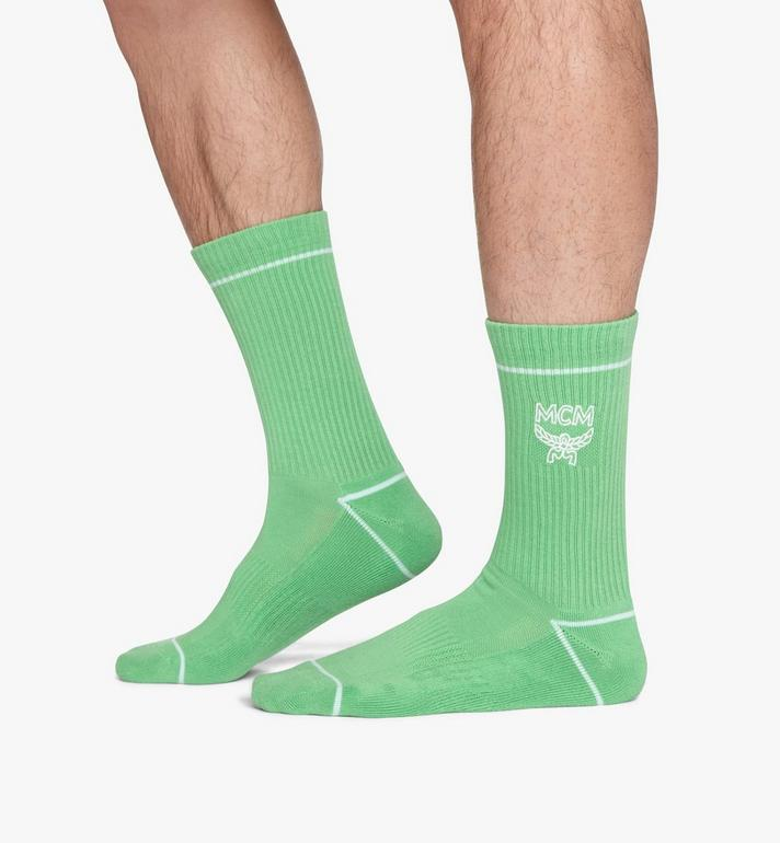 MCM Classic Logo Cotton Socks Green MEZASBM01GR0ML Alternate View 4
