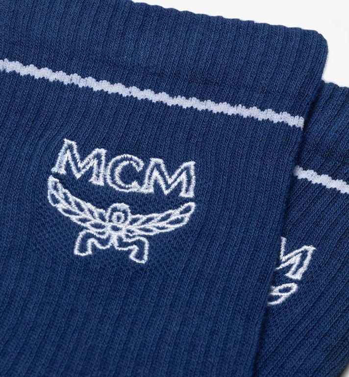 MCM Classic Logo Cotton Socks Blue MEZASBM01LU0ML Alternate View 2
