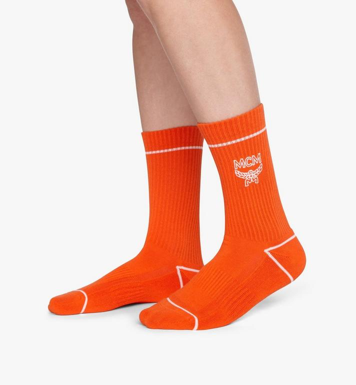 MCM Classic Logo Cotton Socks Orange MEZASBM01OR0ML Alternate View 3